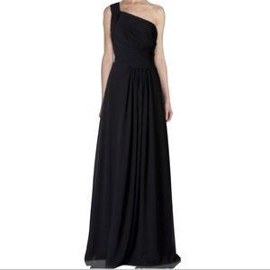 Monique Lhuillier 8 One Shoulder Ball Gown Black